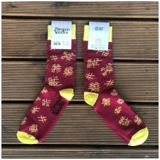Tic tac toe socks — Bordo red Colorful & Funny Socks for Men