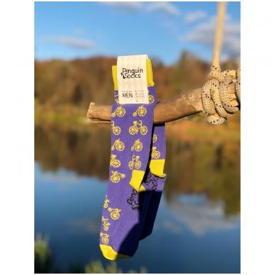 Bike socks — Violet Funny Socks for Men by Penguin socks 2